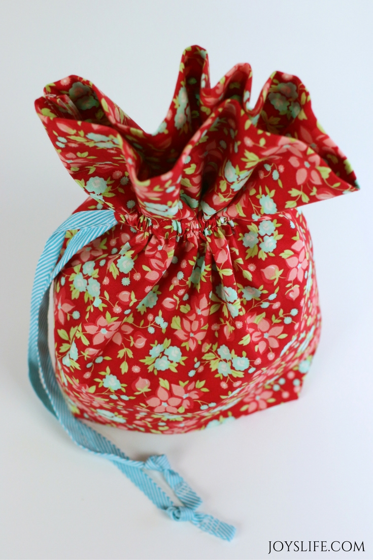 floral drawstring bag from the top