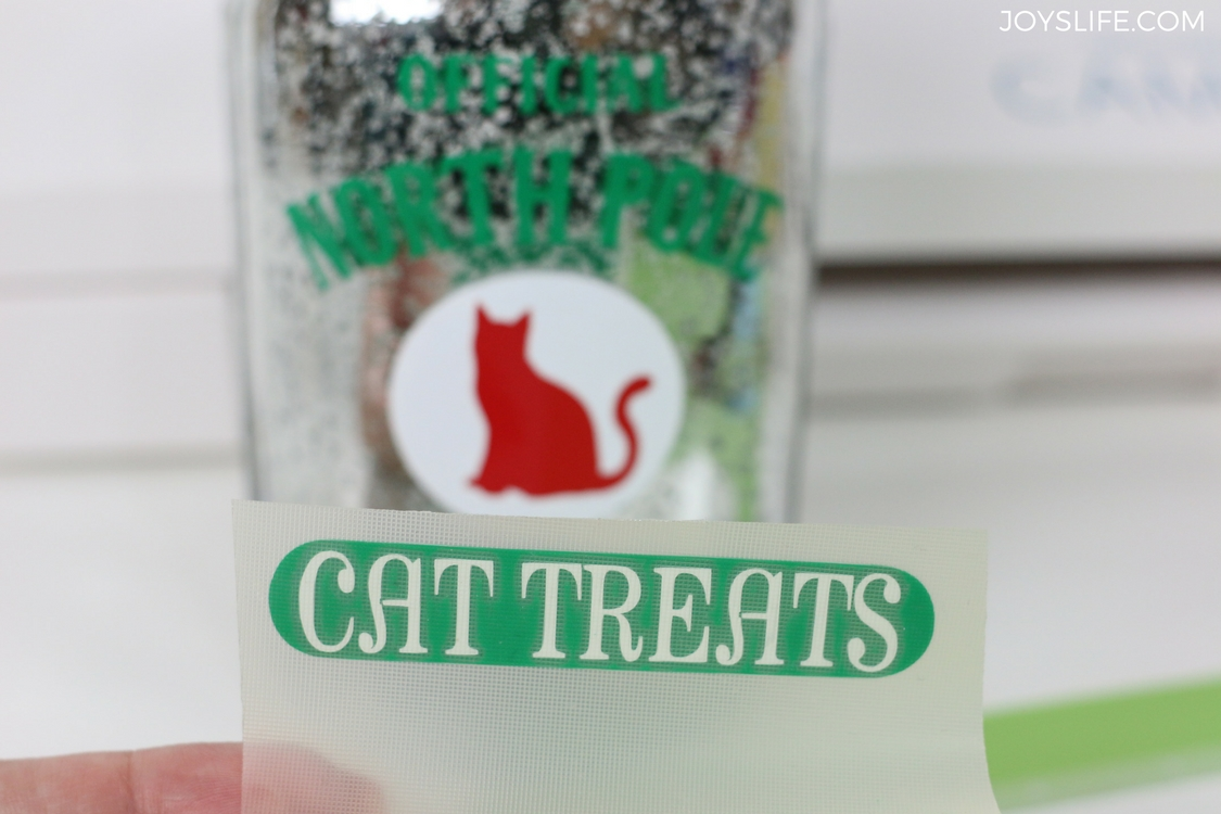 cat treats vinyl letters on transfer tape