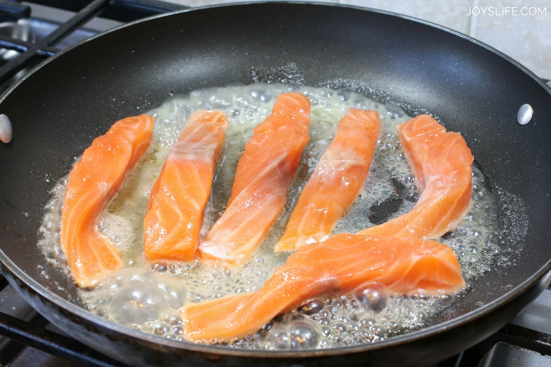 salmon strips cooking