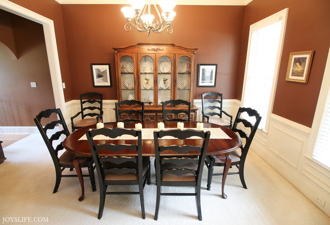 dining room table chairs china cabinet before