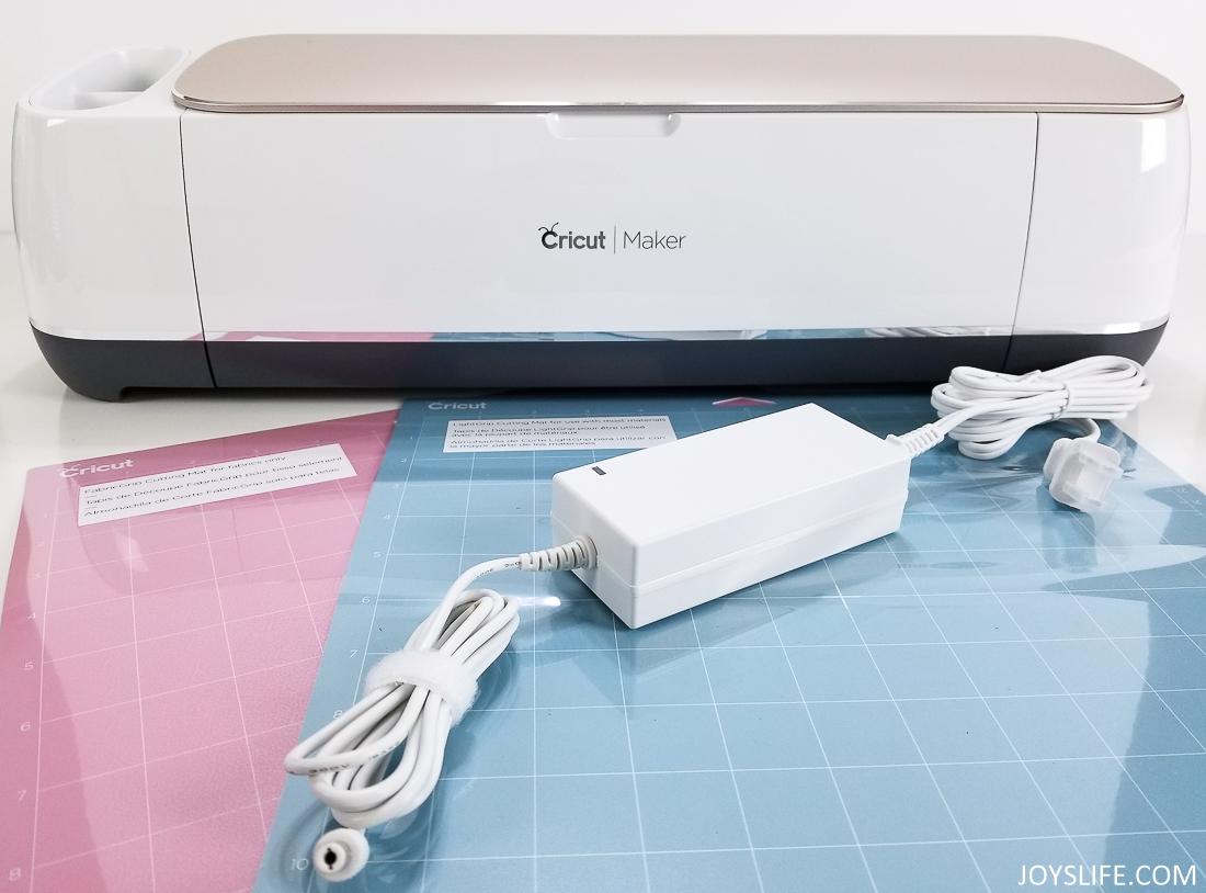 Cricut Maker pink mat blue mat plugs