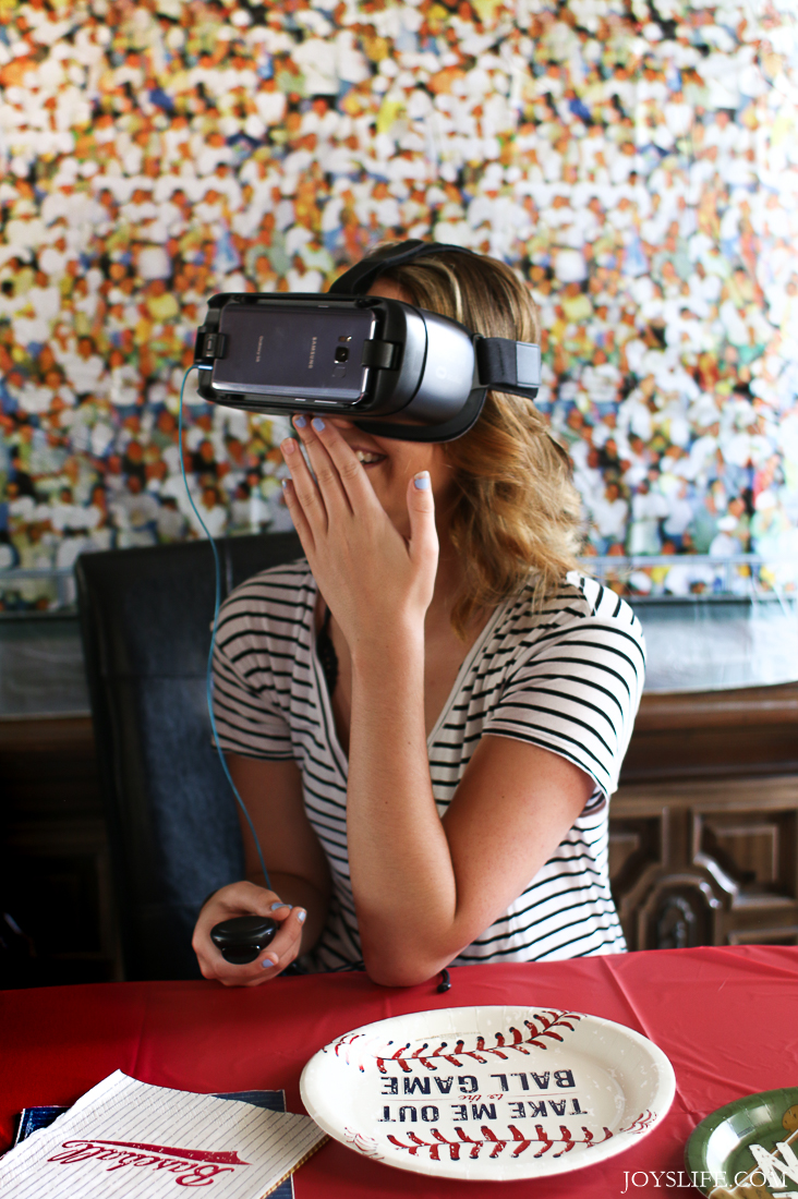 laughing wearing samsung gear vr headset