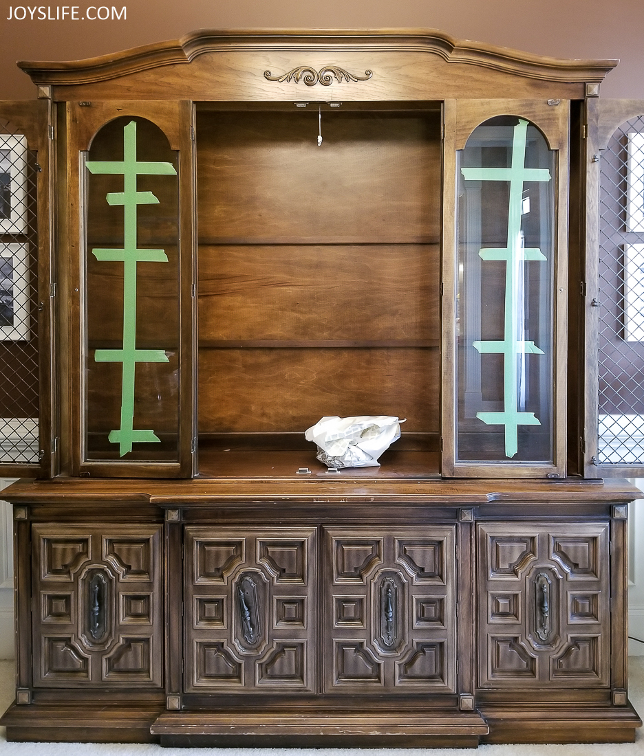 china cabinet open taped glass