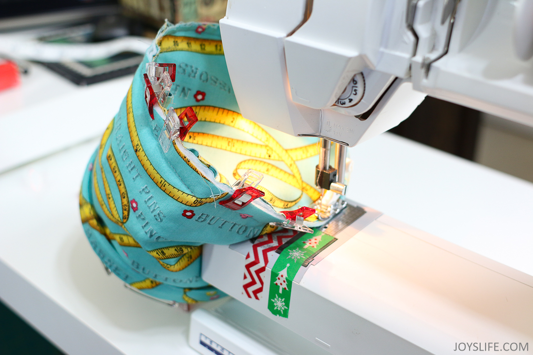 Machine Sewing the fabric circle onto the Pop Up Bucket body