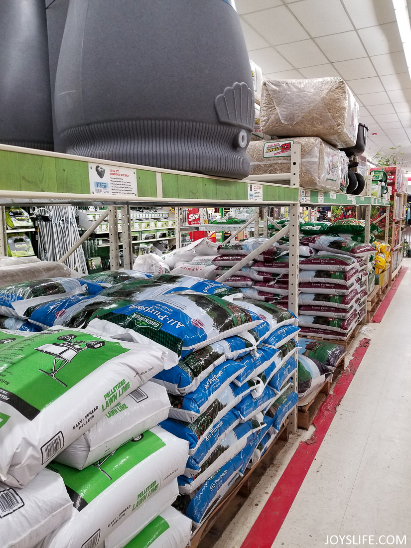 fertilizer and compost bin at tractor supply store