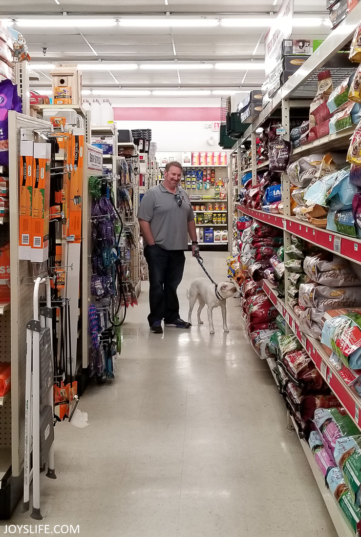 Walking the Aisles of the Tractor Supply Co with our dog.
