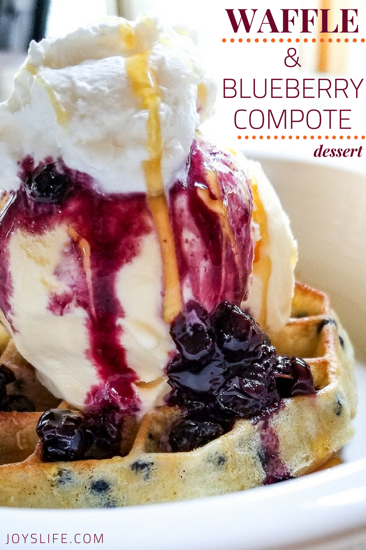 Waffle and Blueberry Compote Ice Cream Dessert #waffleicecream